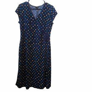 East 5th multi-colored polka dot v neck dress sz M